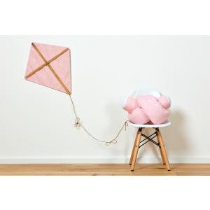 KraftKids Bettrolle abgerundete Dreiecke weiß auf Rosa Rollenlänge 140 cm