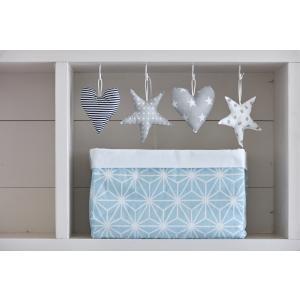 KraftKids Körbchen weiße Diamante auf Pastel Blau 20 x 33 x 20 cm