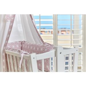 KraftKids Nestchen weiße Diamante auf Cameo Rosa Nestchenlänge 60-70-60 cm für Bettgröße 140 x 70 cm