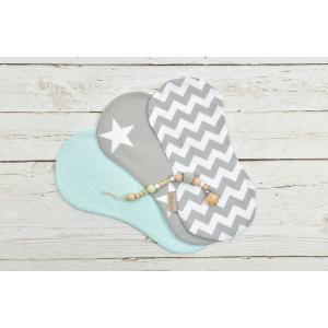 KraftKids Spucktuch große weiße Sterne auf Grau und weiße Punkte auf Mint und Chevron grau 3er Set Sterne