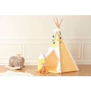 KraftKids Spielzelt Tipi gelbe Dreiecke inkl. Spielmatte und 2 Sternkissen