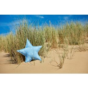 KraftKids Dekoration Sternkissen abgerundete Dreiecke weiß auf Blau