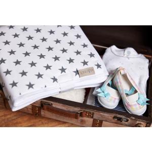KraftKids Reisewickelunterlage kleine graue Sterne auf Weiss wasserundurchlässig