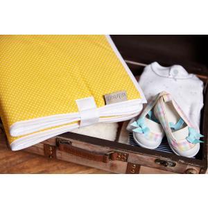 KraftKids Reisewickelunterlage weiße Punkte auf Gelb wasserundurchlässig