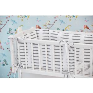 KraftKids Nestchen graue Striche auf Weiß Nestchenlänge 60-70-60 cm für Bettgröße 140 x 70 cm