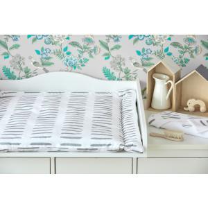 KraftKids Wickelauflage graue Striche auf Weiß breit 78 x tief 78 cm z. B. für MALM oder HEMNES Kommodenaufsatz von KraftKids