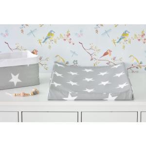 KraftKids Bezug für Keilwickelauflage große weiße Sterne auf Grau