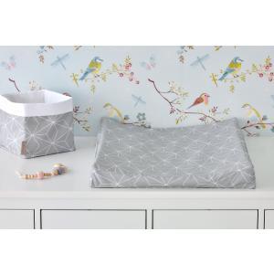 KraftKids Bezug für Keilwickelauflage weiße dünne Diamante auf Grau