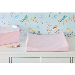 KraftKids Bezug für Keilwickelauflage kleine Blätter rosa auf Weiß