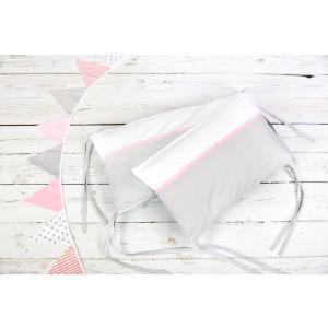 KraftKids Nestchen Uniweiss und Karo grau Nestchenlänge 60-60-60 cm für Bettgröße 120 x 60 cm