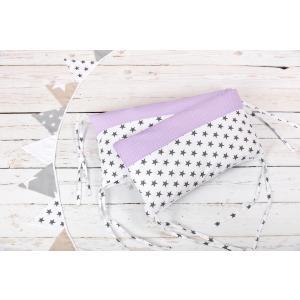 KraftKids Nestchen kleine graue Sterne auf Weiss und weiße Punkte auf Lila Nestchenlänge 60-60-60 cm für Bettgröße 120 x 60 cm