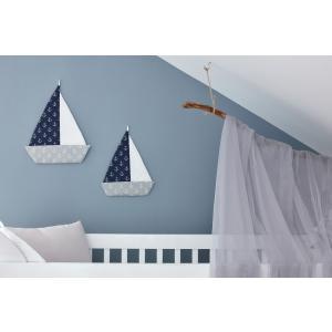 KraftKids Dekoration Segelboot weiße Anker auf Dunkelblau