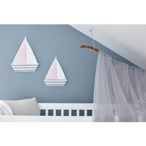 KraftKids Dekoration Segelboot dicke Streifen grau