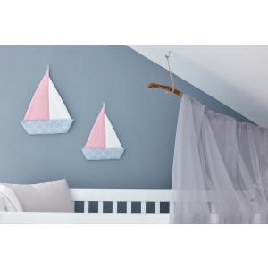 KraftKids Dekoration Segelboot weiße Halbkreise auf Pastelblau