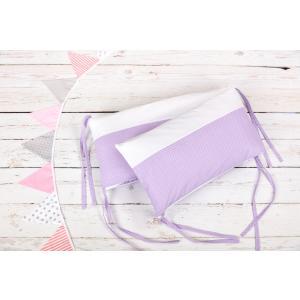 KraftKids Nestchen Uniweiss und weiße Punkte auf Lila Nestchenlänge 60-60-60 cm für Bettgröße 120 x 60 cm