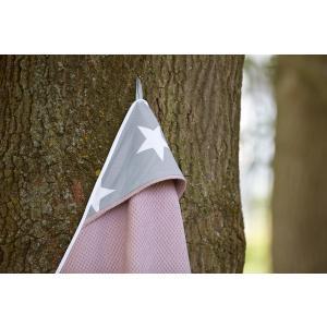 KraftKids Kapuzenhandtuch große weiße Sterne auf Grau und Waffel Piqué rosa