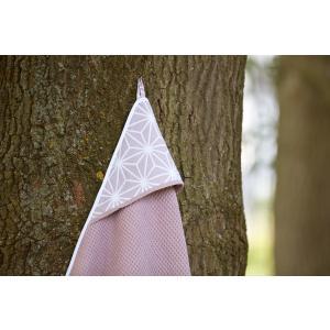 KraftKids Kapuzenhandtuch Waffel Piqué rosa und weiße Diamante auf Cameo Rosa