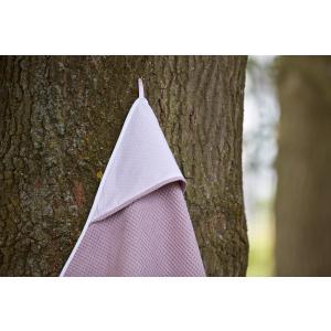 KraftKids Kapuzenhandtuch weiße Punkte auf Rosa und Waffel Piqué rosa