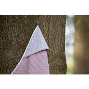 KraftKids Kapuzenhandtuch weiße Punkte auf Grau und Waffel Piqué rosa