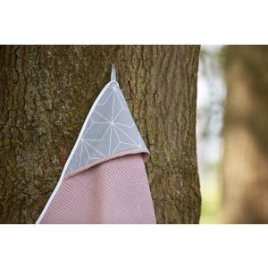 KraftKids Kapuzenhandtuch Waffel Piqué rosa und weiße dünne Diamante auf Grau
