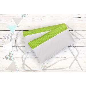 KraftKids Nestchen Unigrau und weiße Punkte auf Grün Nestchenlänge 60-60-60 cm für Bettgröße 120 x 60 cm
