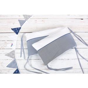 KraftKids Nestchen Uniweiss und dünne Streifen dunkelblau Nestchenlänge 60-70-60 cm für Bettgröße 140 x 70 cm