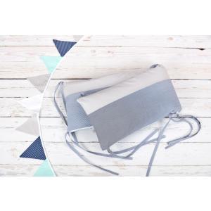 KraftKids Nestchen Unigrau und dünne Streifen dunkelblau Nestchenlänge 60-70-60 cm für Bettgröße 140 x 70 cm