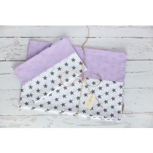 KraftKids Bettwäscheset kleine graue Sterne auf Weiss und weiße Punkte auf Lila 140 x 200 cm, Kissen 80 x 80 cm