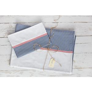 KraftKids Bettwäscheset Uniweiss und Streifen dunkelblau 140 x 200 cm, Kissen 80 x 80 cm