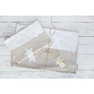 KraftKids Bettwäscheset große weiße Sterne auf Beige und Uniweiss 100 x 135 cm, Kissen 40 x 60 cm