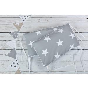 KraftKids Nestchen große weiße Sterne auf Grau Nestchenlänge 60-60-60 cm für Bettgröße 120 x 60 cm
