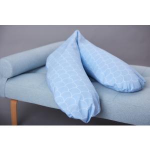 KraftKids qualitäts Stillkissen weiße Halbkreise auf Pastelblau mit Micro-EPS-Perlen mit TOXPROOF-ZERTIFIKAT des TÜV-Rheinland