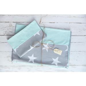 KraftKids Bettwäscheset große weiße Sterne auf Grau und weiße Punkte auf Mint 140 x 200 cm, Kissen 80 x 80 cm