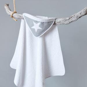 miniFifia Kapuzenhandtuch große weiße Sterne auf Grau