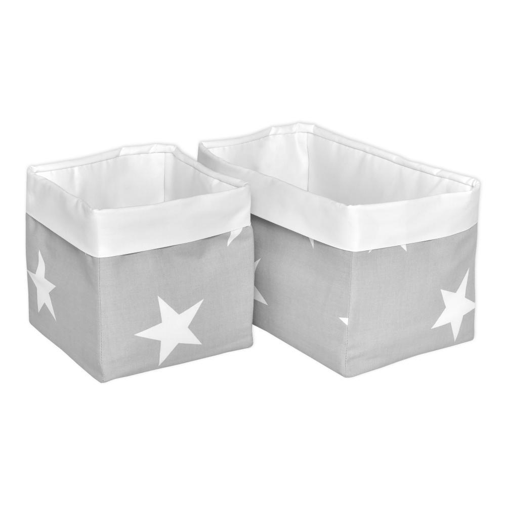 KraftKids Körbchen große weiße Sterne auf Grau und Uniweiss 20 x 20 x 20 cm