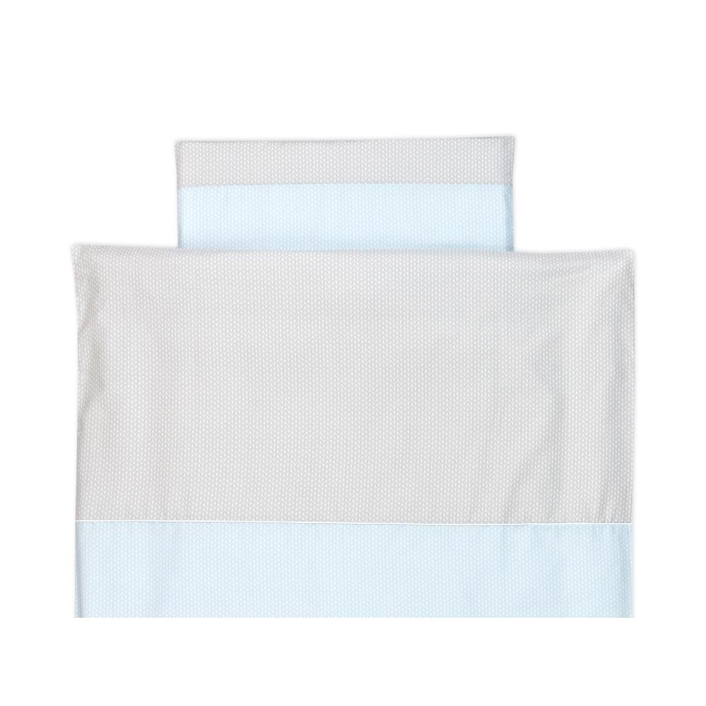 KraftKids Bettwäscheset kleine Blätter hellblau auf Weiß 100 x 135 cm, Kissen 40 x 60 cm