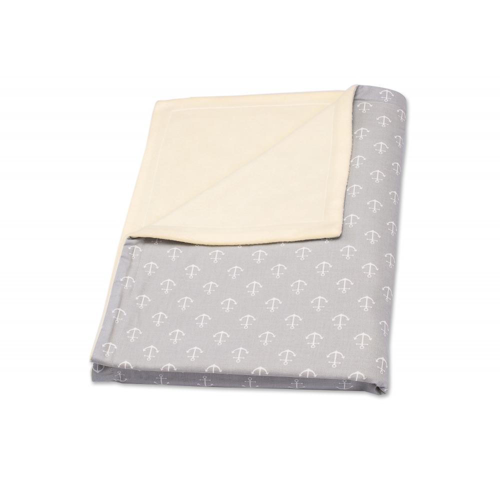 KraftKids Babydecke weiße Anker auf Grau