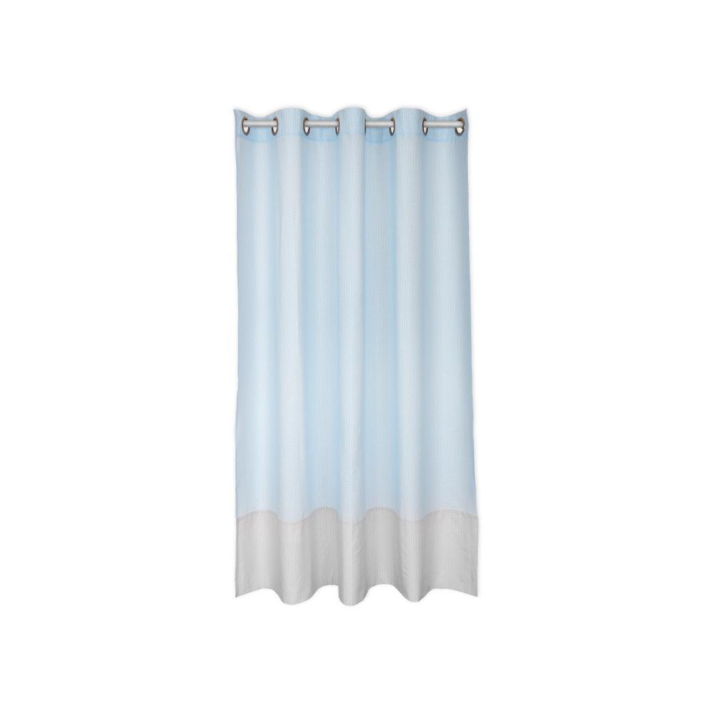 KraftKids Gardinen kleine Blätter hellblau auf Weiß Länge: 170 cm