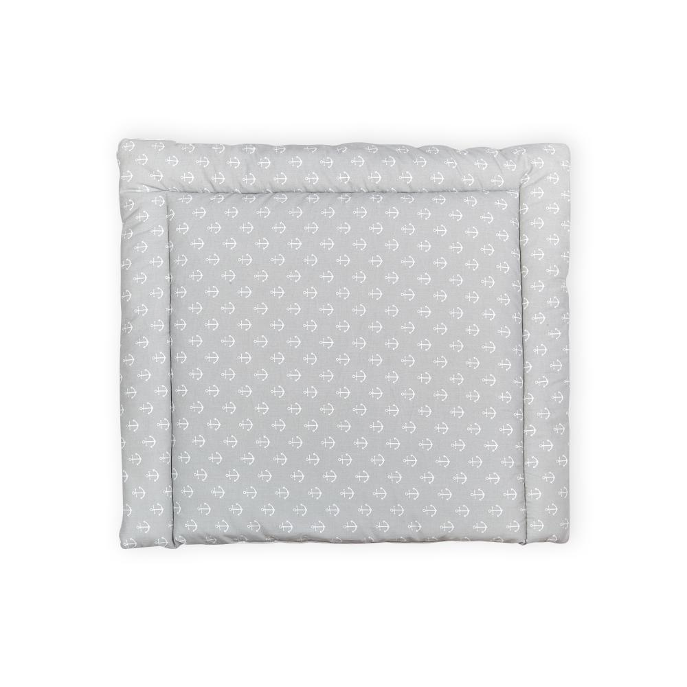 KraftKids Wickelauflage weiße Anker auf Grau breit 75 x tief 70 cm