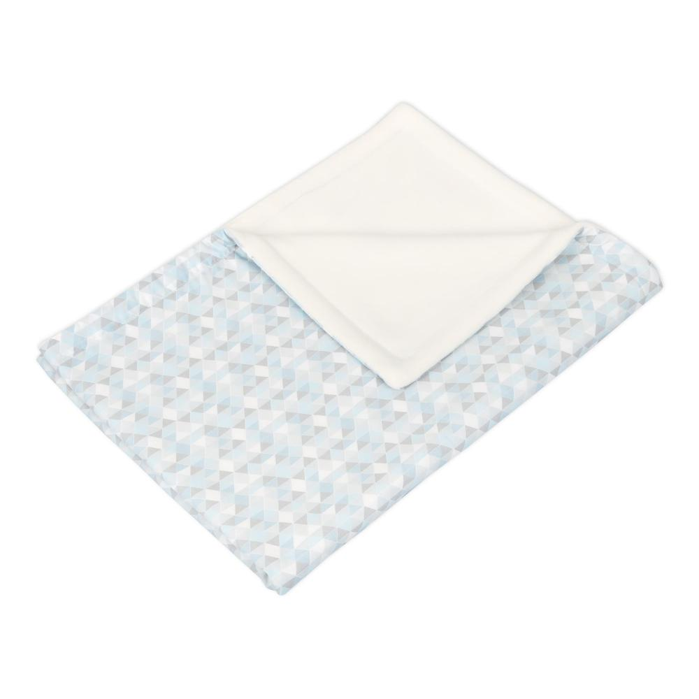 KraftKids Babydecke kleine Dreiecke blau grau weiß