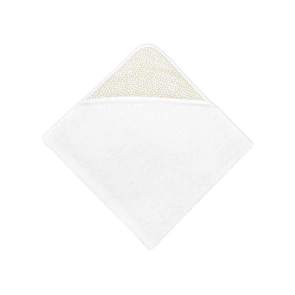 KraftKids Kapuzenhandtuch graue unregelmäßige Punkte auf Weiß