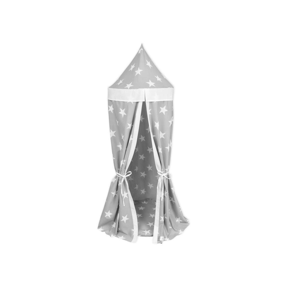 KraftKids Hängezelt große weiße Sterne auf Grau und Uniweiss Baldachin