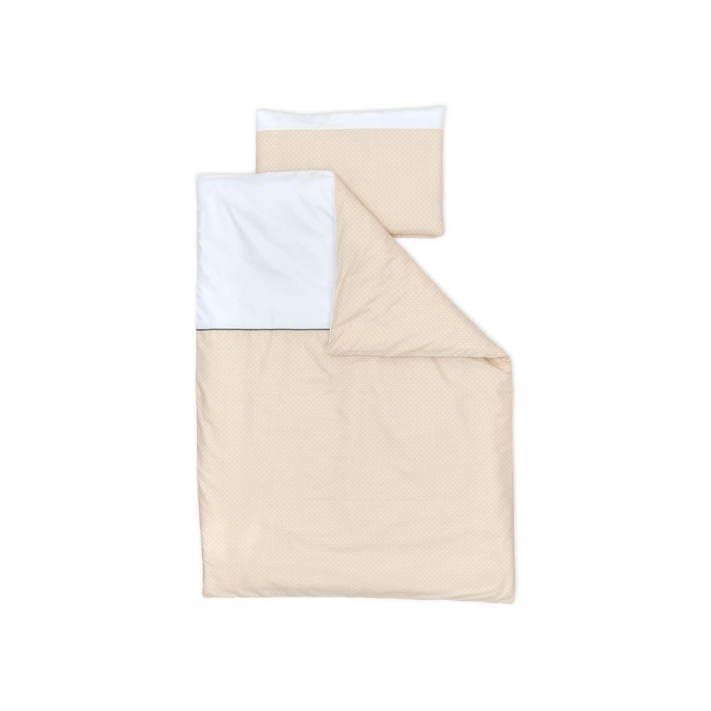 miniFifia Bettwäscheset Uniweiss und weisse Punkte auf Beige 140 x 200 cm, Kissen 80 x 80 cm