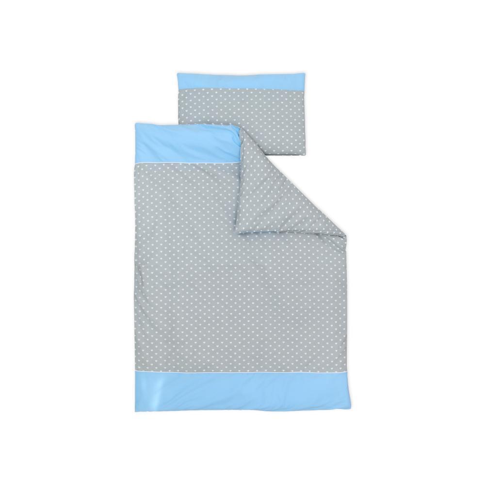 miniFifia Bettwäscheset weiße Herzen auf Grau und Unihellblau 140 x 200 cm, Kissen 80 x 80 cm