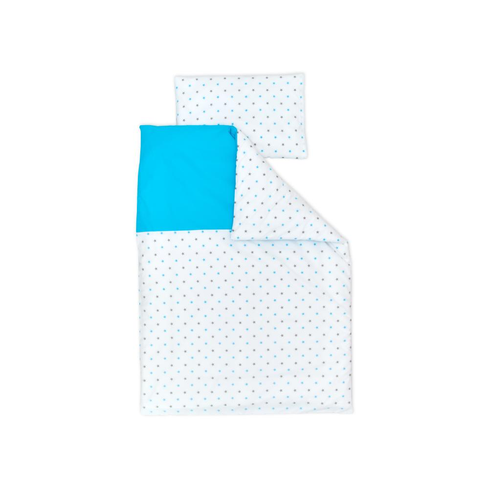 miniFifia Bettwäscheset graue blaue Sterne auf Weiss und Unitürkis 140 x 200 cm, Kissen 80 x 80 cm