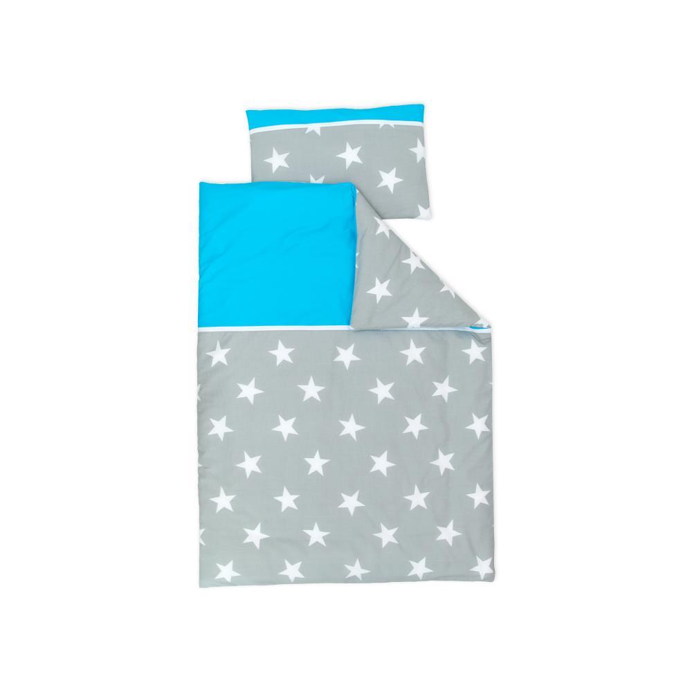 miniFifia Bettwäscheset große weiße Sterne auf Grau und Unitürkis 140 x 200 cm, Kissen 80 x 80 cm