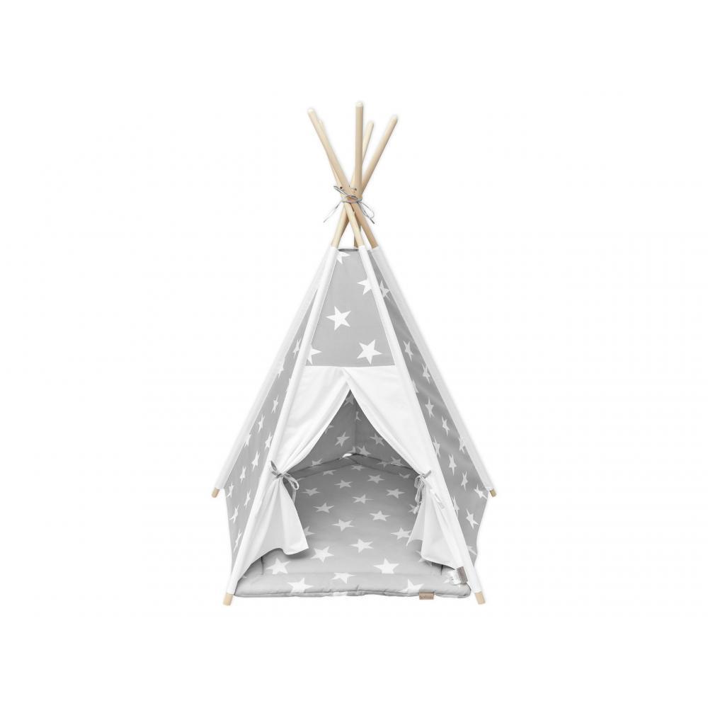 KraftKids Spielzelt Tipi große weiße Sterne auf Grau und Uniweiss inkl. Spielmatte