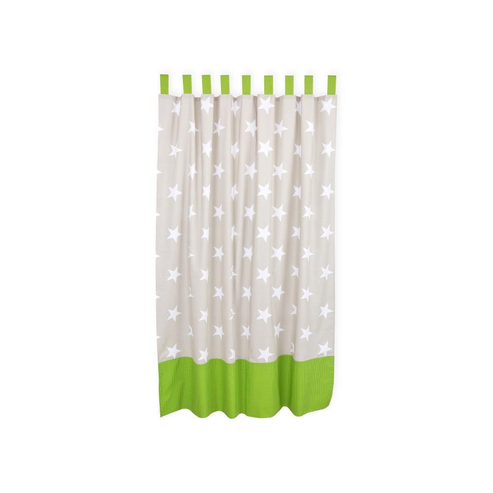 KraftKids Gardinen große weiße Sterne auf Beige und weiße Punkte auf Grün Länge: 170 cm