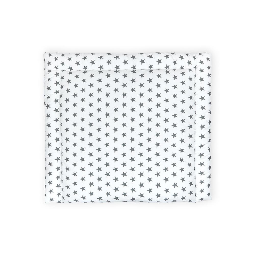 KraftKids Wickelauflage kleine graue Sterne auf Weiss breit 60 x tief 70 cm passend für Waschmaschinen-Aufsatz von KraftKids