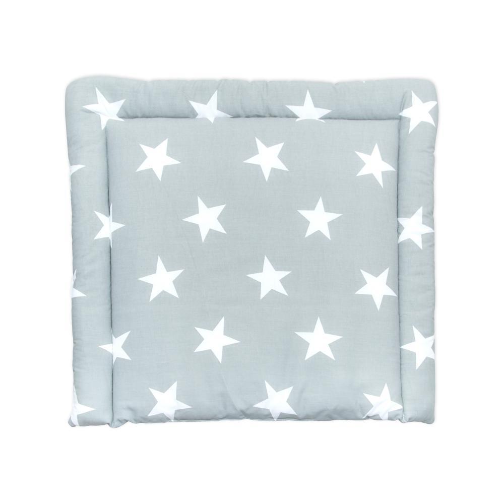 KraftKids Wickelauflage große weiße Sterne auf Grau breit 78 x tief 78 cm z. B. für MALM oder HEMNES Kommodenaufsatz von KraftKids